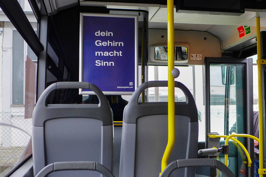 Poster in buses of the INVG Ingolstadt: Your Brain is Making Sense